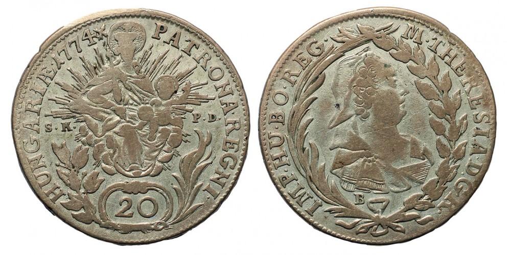 Mária Terézia 20 Krajcár 1774 B