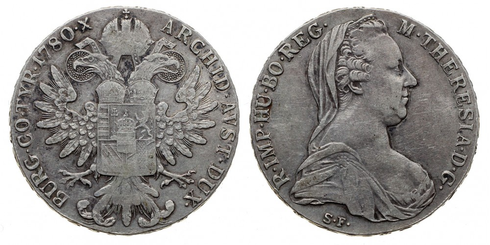 Mária Terézia tallér 1780 S.F. korábbi veret
