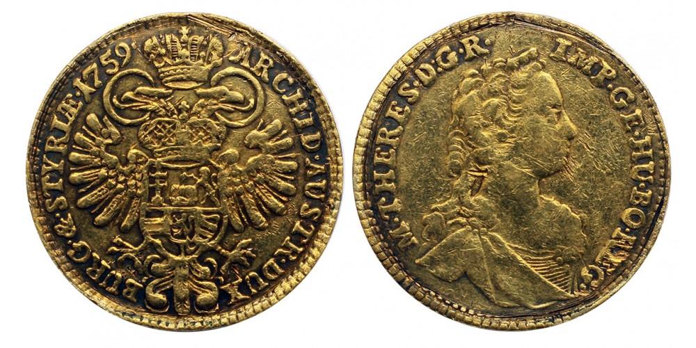 Mária Terézia dukát 1759 Graz RRRR!