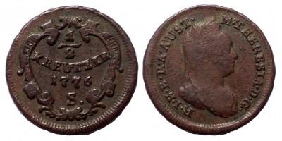 Mária Terézia 1/2 krajcár 1776 S