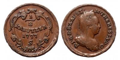 Mária Terézia 1/2 krajcár 1777 S R!
