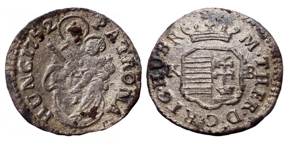 Mária Terézia denár 1752 KB.
