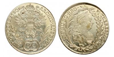Mária Terézia XV krajcár 1780 I.C.F.A.