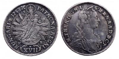 Mária Terézia XVII kreuzer 1753 KB.
