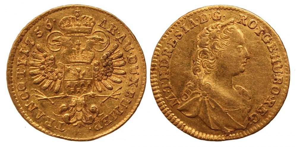 Erdély Mária Terézia dukát 1756 Gyulafehérvár