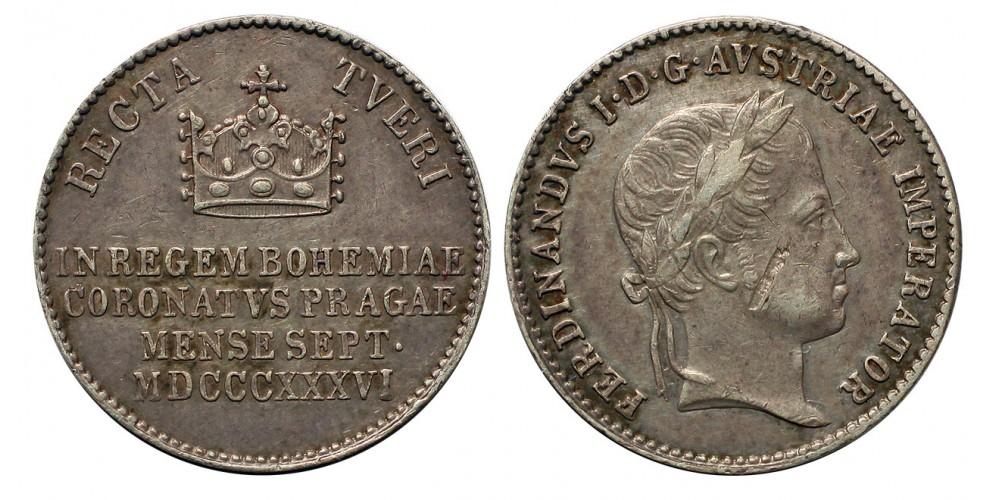 V. Ferdinánd (1835-1848) Koronázási zseton 1836 Prága 5.49g