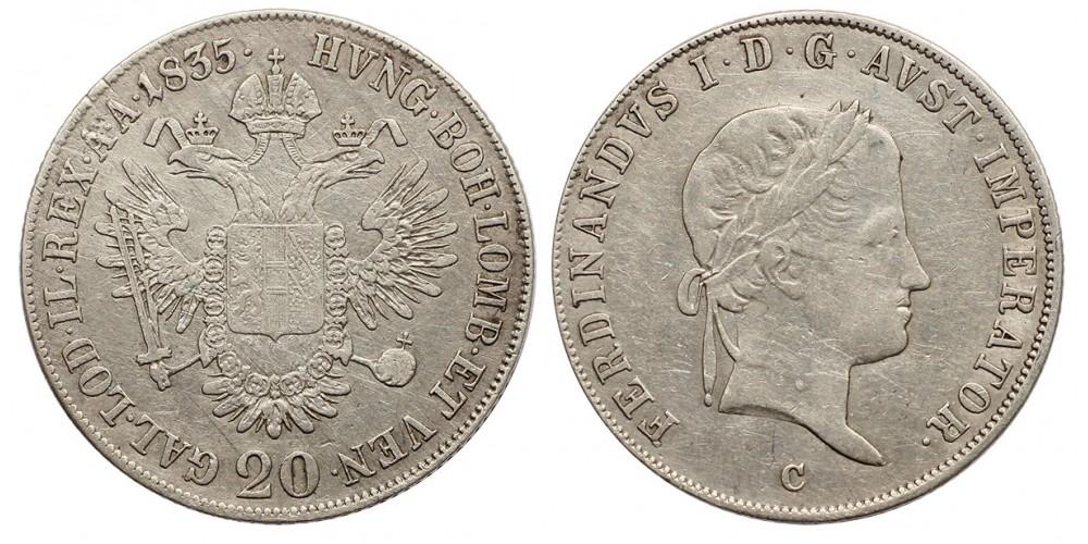 V.Ferdinánd 20 krajcár 1835 C Prága
