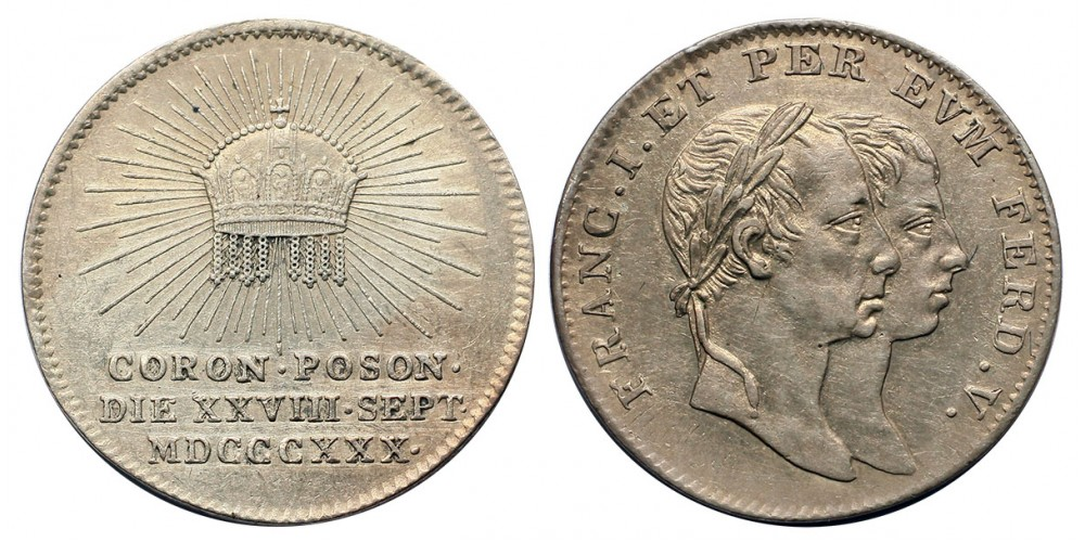 V.Ferdinánd koronázási zseton Pozsony 1830