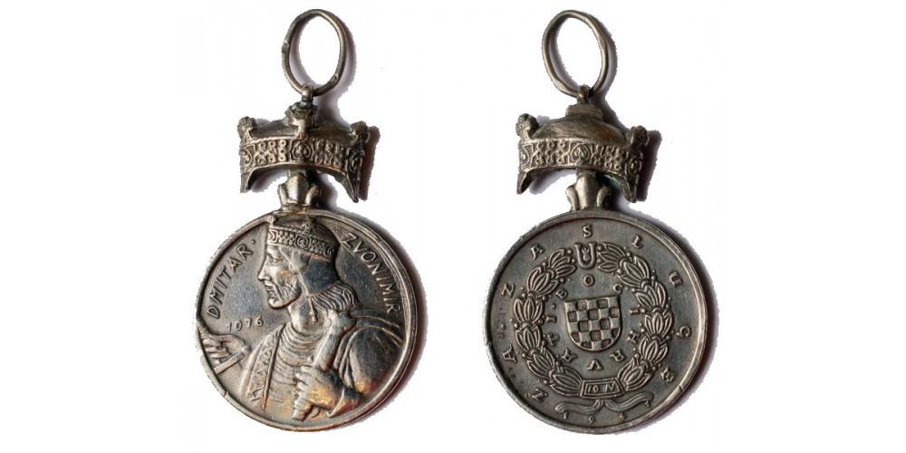 Horvátország Zvonimir király koronája Ezüst Érdemérem R!