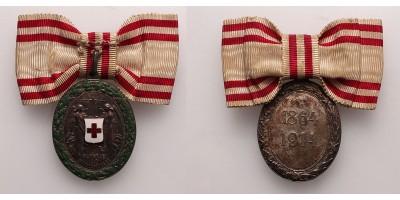 Vöröskereszt Ezüst Díszérem hadidíszítménnyel női szalagon