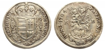 Rákóczi 1/2 tallér 1704 KB.