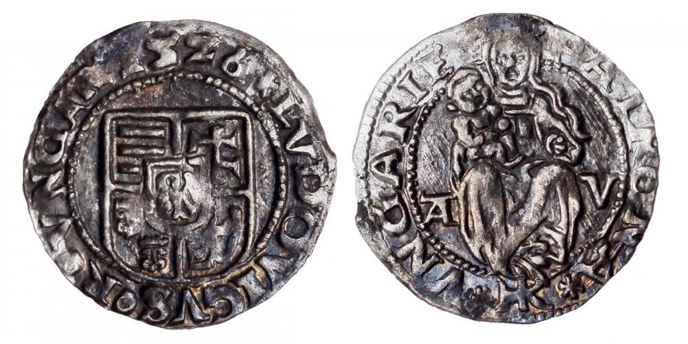 II. Lajos denár 1526 A-V/HK Visegrád ÉH 673