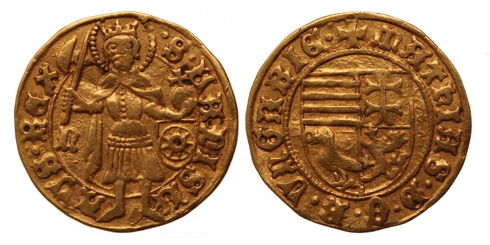 Mátyás (1458-1490) aranyforint n-kerék RR!