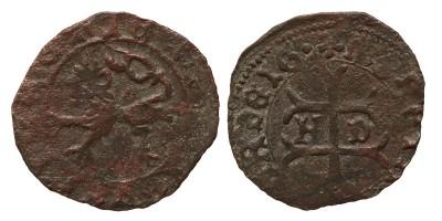Hunyadi János 1446-53 denár K-retrográd C ÉH 486 publikálatlan verdejegy (!)