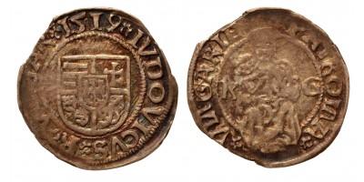 II. Lajos denár 1519 K-G ÉH 673