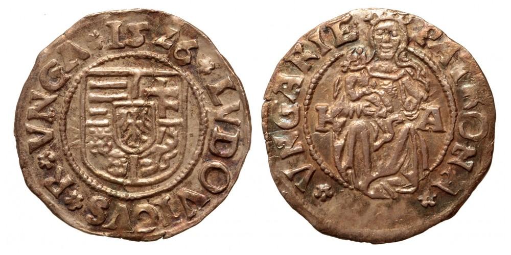 II. Lajos denár 1526 K-A ÉH 673
