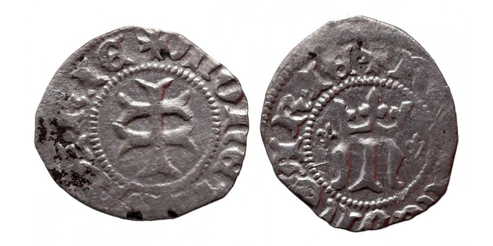 Mária 1382-87/1395 denár, liliom-liliom ÉH 442