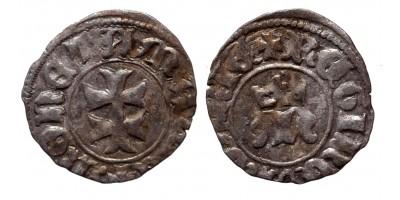 Mária 1382-87/1395 denár, verdejegy nélkül (!) ÉH 442