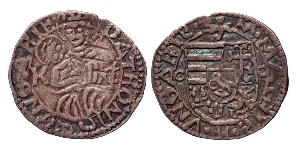I. Mátyás 1458-90 denár K-C ÉH 567 ritka verdejegy (!)