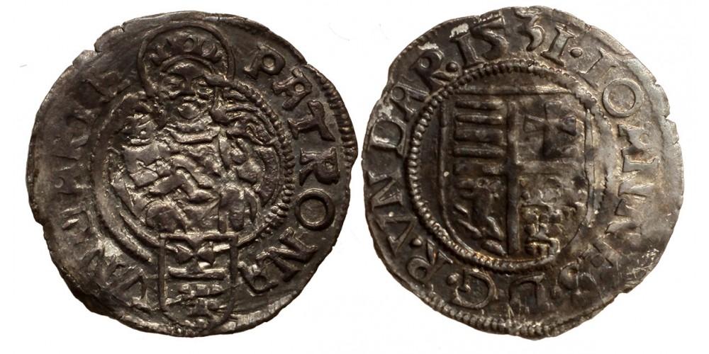 Szapolyai János denár 1531 Gritti-címer ÉH 708 RR!