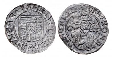 II. Lajos denár 1526 C-liliom ÉH 673