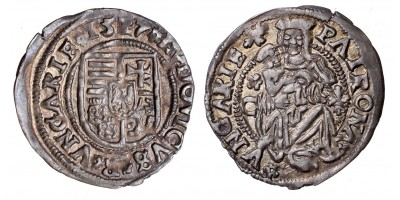 II. Lajos denár 1527 rozetta C-liliom ÉH 673 RRR!