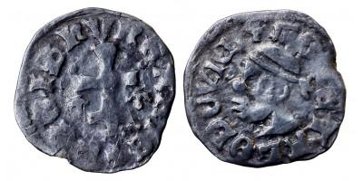 I. Lajos 1342-82 denár, korona-korona ÉH 432
