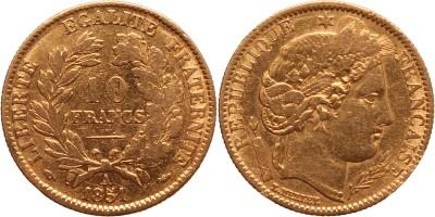 Franciaország 10 frank 1851 A