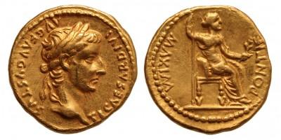 Tiberius AV aureus, Lugdunum