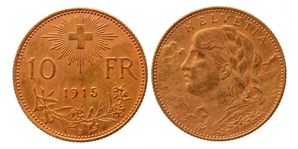 Svájc 10 frank 1915