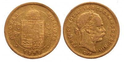 10 frank 4 forint 1870 Gy.F.
