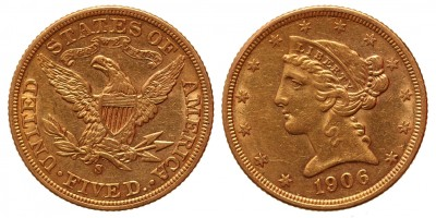 USA 5 dollár 1906