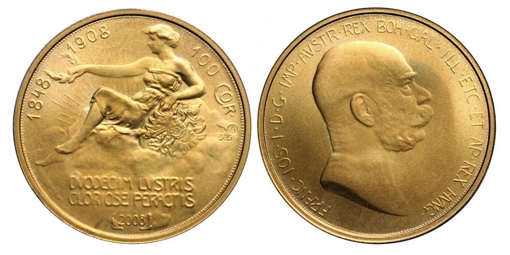 Ausztria 100 Korona 1908 - 2008 utánveret
