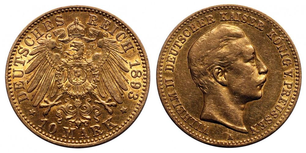 Poroszország 10 Márka 1893 A