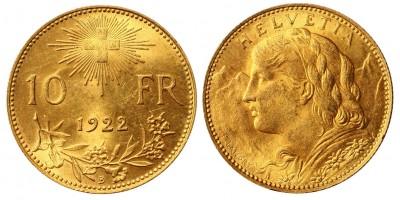 Switzerland gold 10 Francs 1922 B
