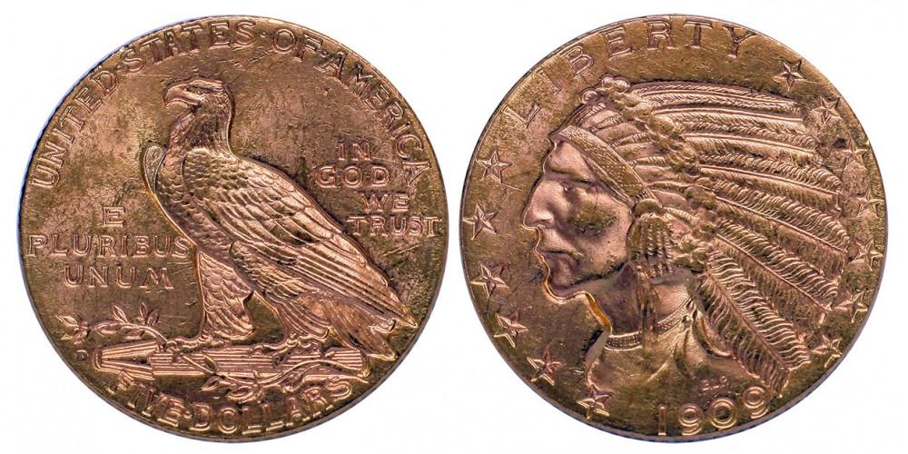 USA 5 dollár 1909 D
