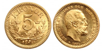 Svédország 5 korona 1901