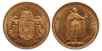 Ferenc József 10 korona 1907 KB. (nyitott A)