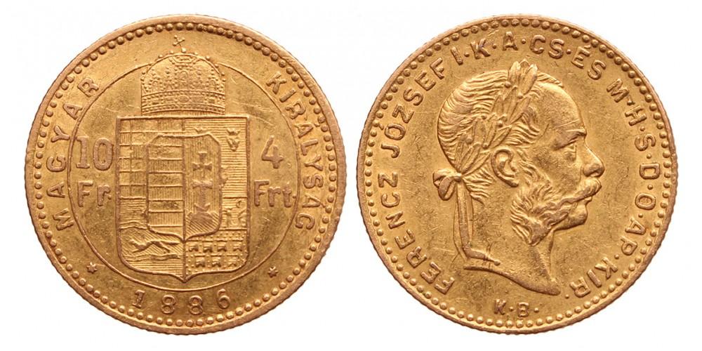 10 frank 4 forint 1886 KB