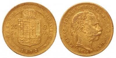 20 frank 8 forint 1870 GyF