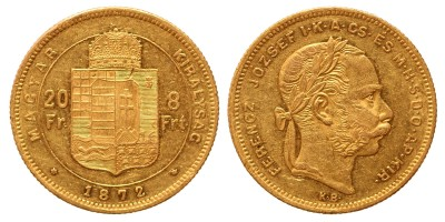 20 frank 8 forint 1872 KB