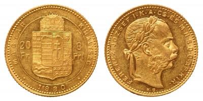 20 frank 8 forint 1880 KB