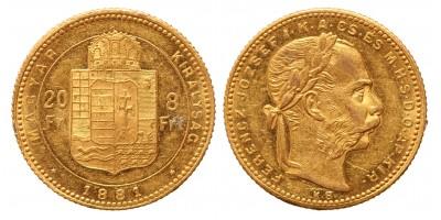 20 frank 8 forint 1881 KB