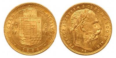 20 frank 8 forint 1886 KB