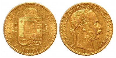 20 frank 8 forint 1890 Fiume KB