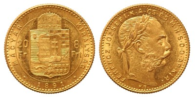 20 frank 8 forint 1891 Fiume KB