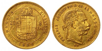 Franz Joseph 8 Forint 1880 KB