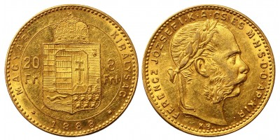 Franz Joseph 8 Forint 1888 KB