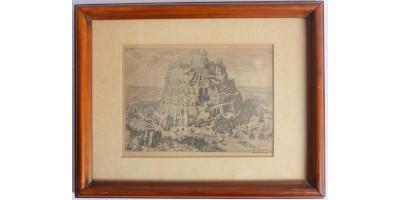 Id. Pieter Bruegel: Bábel tornya - metszet, antik keretben