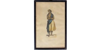Pitcairn-szigeteki benszülött lány 1845 - színezett metszet, antik keretben